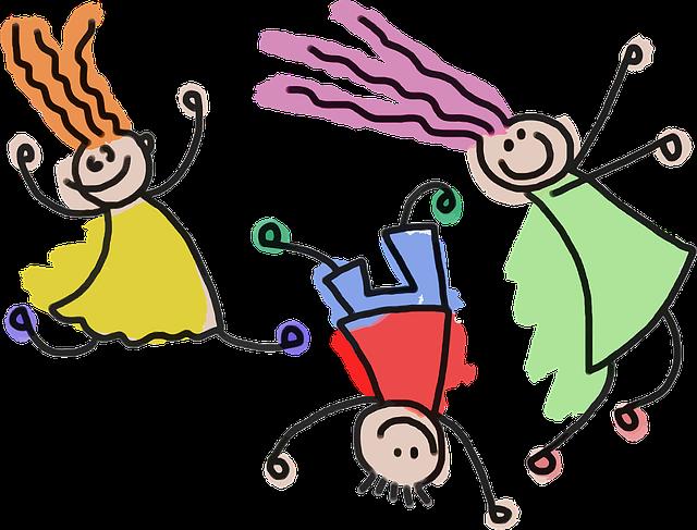Home Office mit Kindern: Spielende Kinder, Zeichnung. Bild: Pixabay