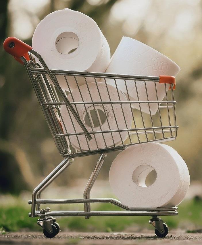 Home Office mit Kindern: Einkaufswagen mit Klopapier-Rollen, Einkaufen auf neues Highlight. Bild: Pixabay
