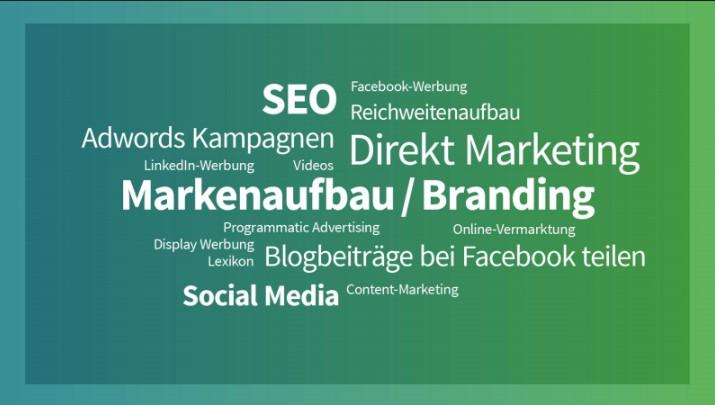 Digitaler Workshop: eine Folie mit den Schwerpunktbegriffen des Online-Marketings. Bild: SYNAXON AG